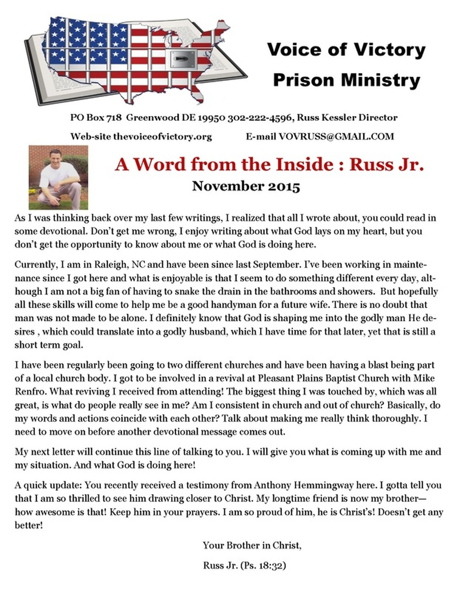 Russ Jr  News from the Inside - The Voice of Victory Prison